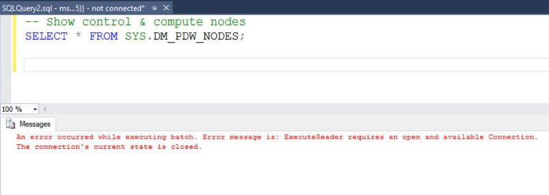 Error in SSMS when running code on a paused data warehouse