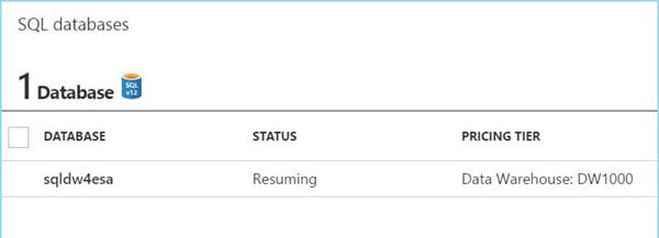 Azure Portal - Resuming Service