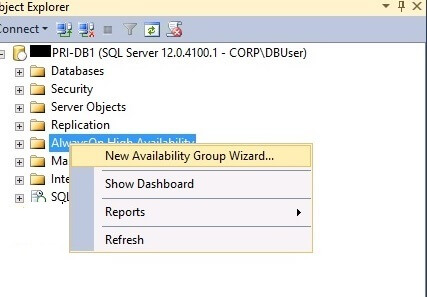 New Availability Group Wizard...