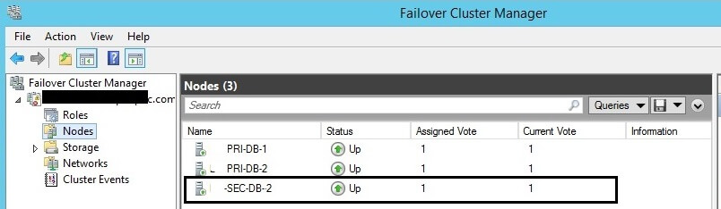 Nodes in Failover Cluster Manager