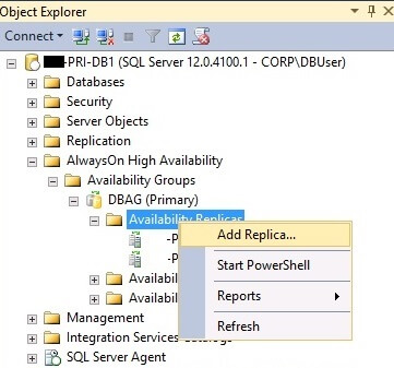 Add Replica Wizard in SQL Server Management Studio