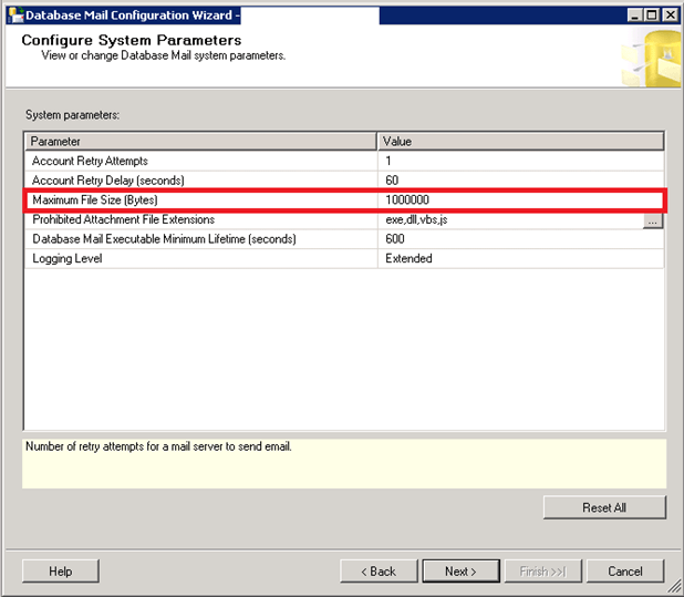 SQL Server Database Mail Attachment Size