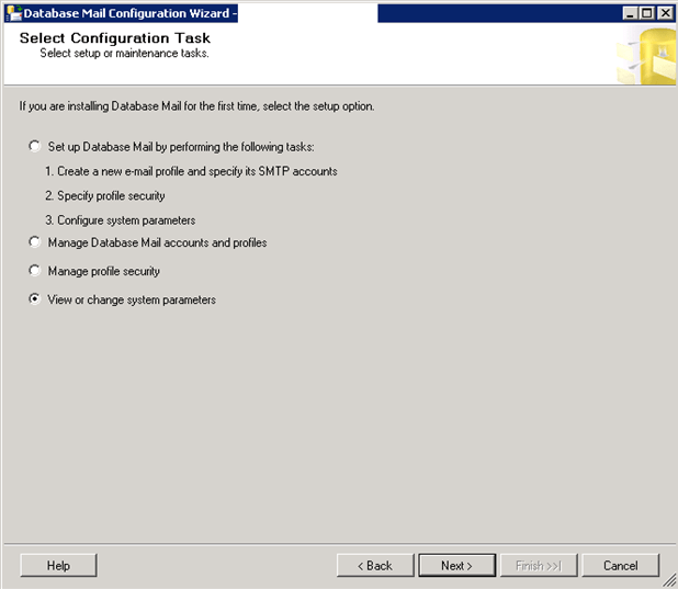 Change SQL Server Database Mail Settings with Management Studio