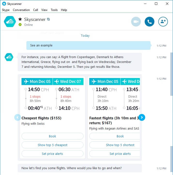 An Example Query on Skyscanner Bot within Skype