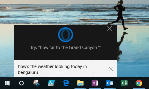 Request for Weather Condition in Cortana on Windows 10