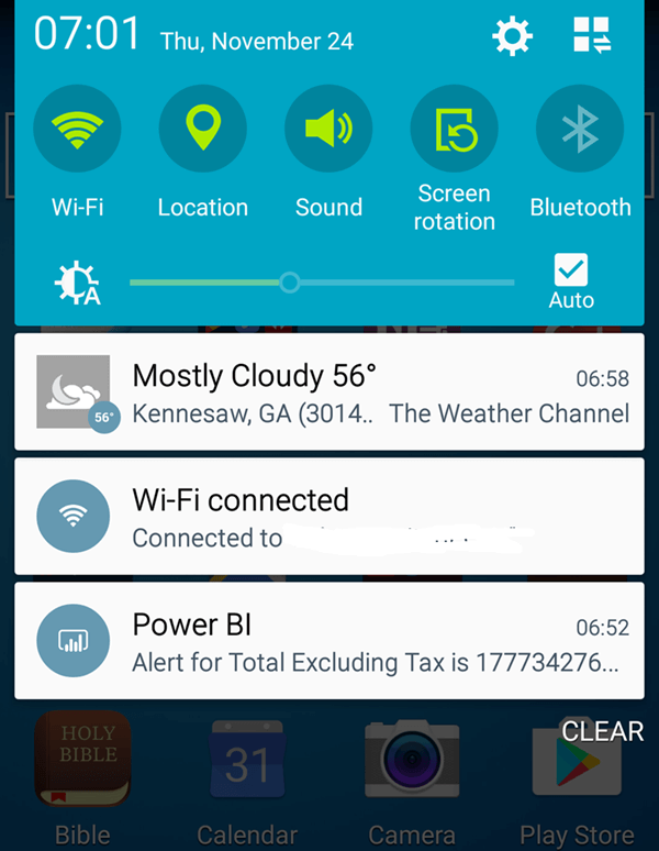 PowerBI Mobile Alert