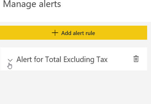 Manage alerts in PowerBI
