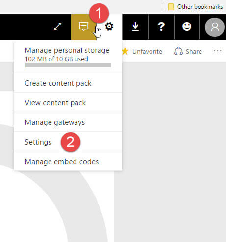 Settings gear in PowerBI