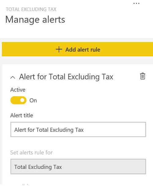 Setup an Alert in PowerBI
