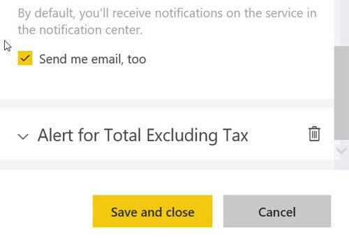 Setup email notification in PowerBI