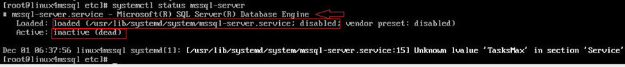 check status of mssql-server service