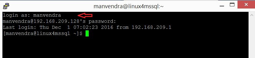 entered the login name and password and then pressed Enter to connect to the Linux Server