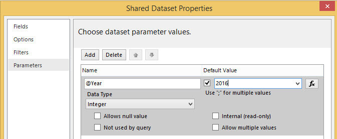 Using a Parameter in a SQL Server Reporting Services 2016