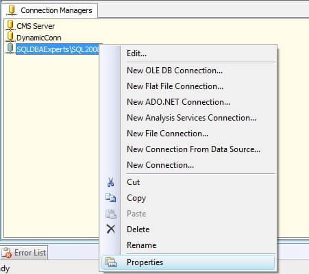 SSIS Connection Manager Properties