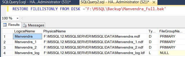 Restore filelist only in SQL Server