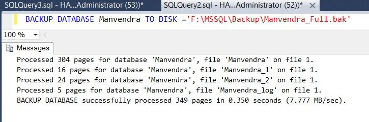 Run Full SQL Server Backup
