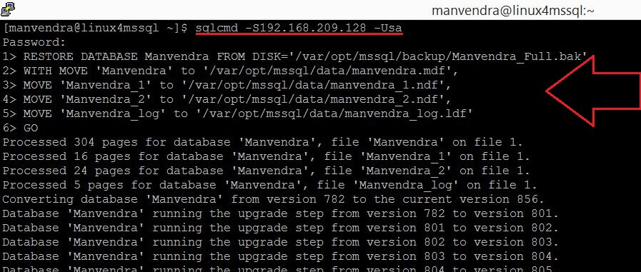 RESTORE db Manvendra in SQL Server