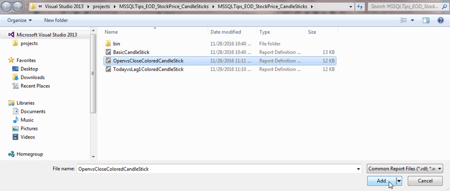 add the original .rdl file back into the Solution Explorer window