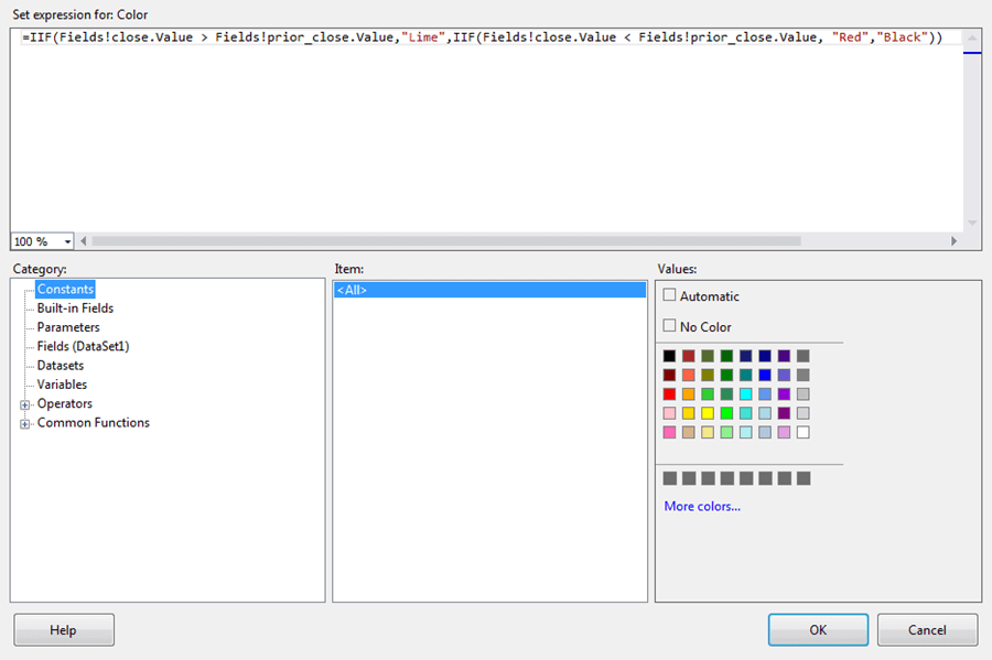 Expression that can implement the new color scheme in SSRS