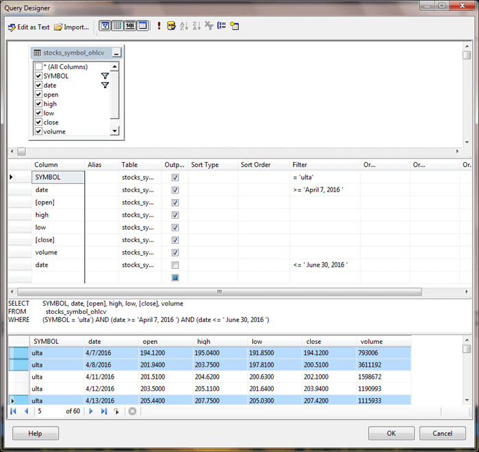 SQL Server Management Studio Query Designer view of a query