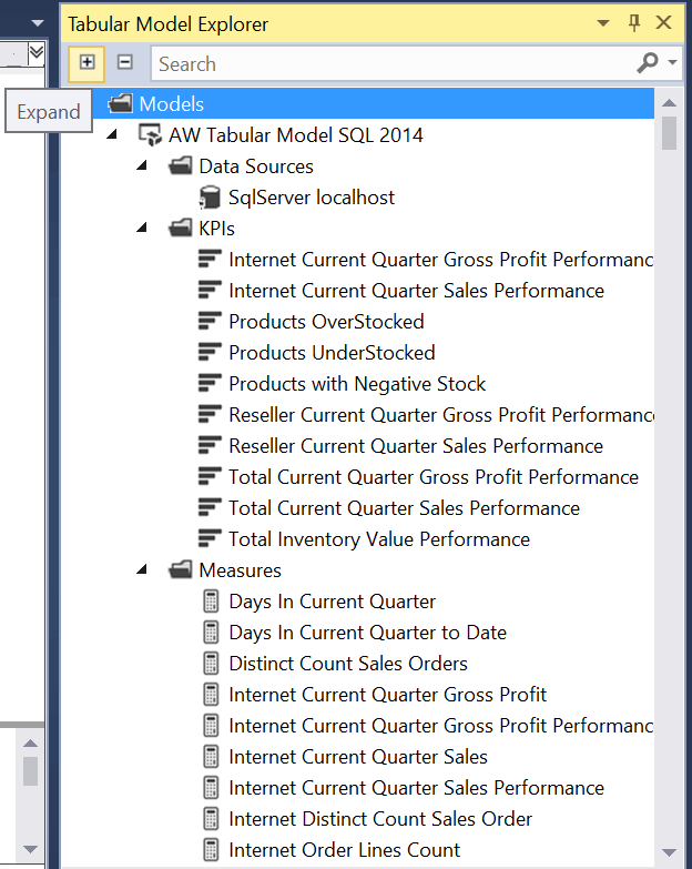 Expand and Collapse the Folders in the SQL Server Data Tools