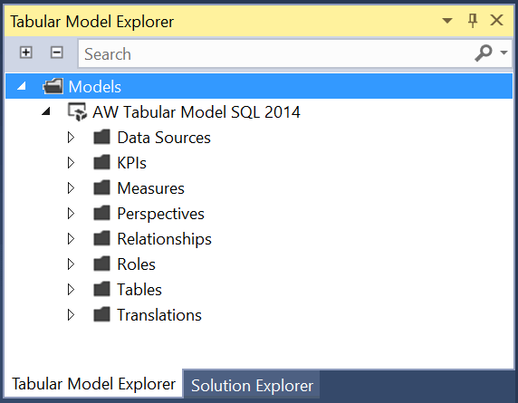 Tabular Model Explorer in the SQL Server Data Tools