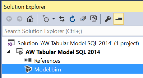 Solution Explorer in the SQL Server Data Tools