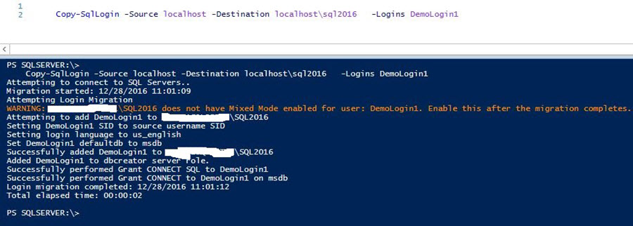 transfer Demologin1 from SQL Server 2014 to SQL Server 2016