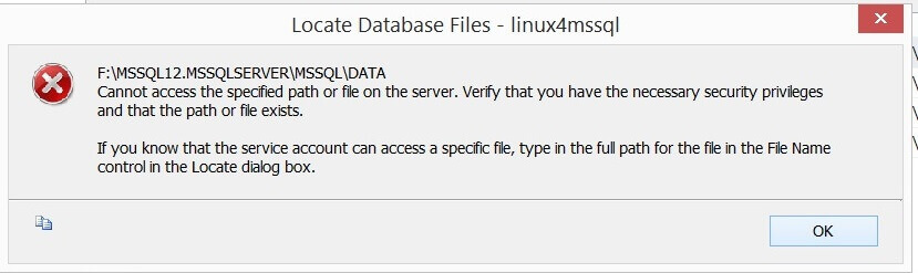 Error - Cannot access the specified path or file on the server.