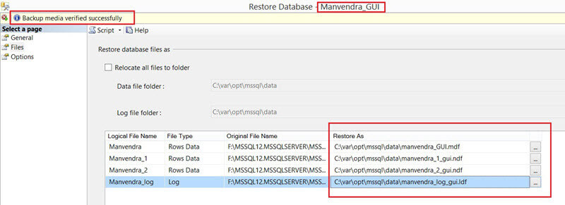 Choose the correct path for each SQL Server database file