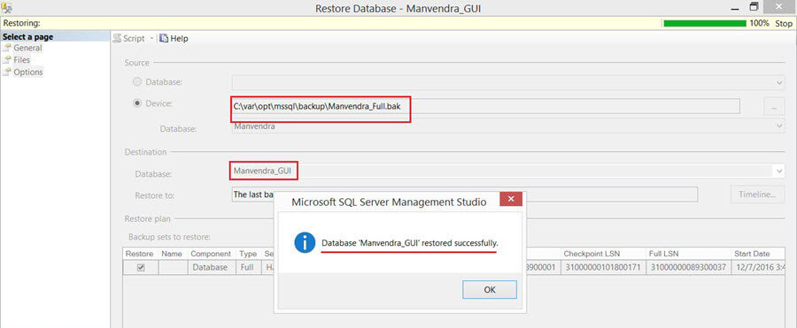 Successful database restore in SSMS