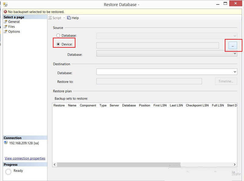Restore Database - Select the device in SSMS