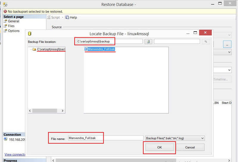 Update the parameters for the Locate Backup File window in SSMS