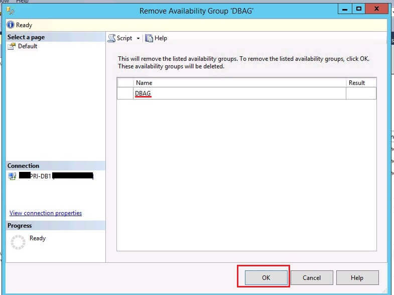Remove Availability Group in SQL Server Management Studio