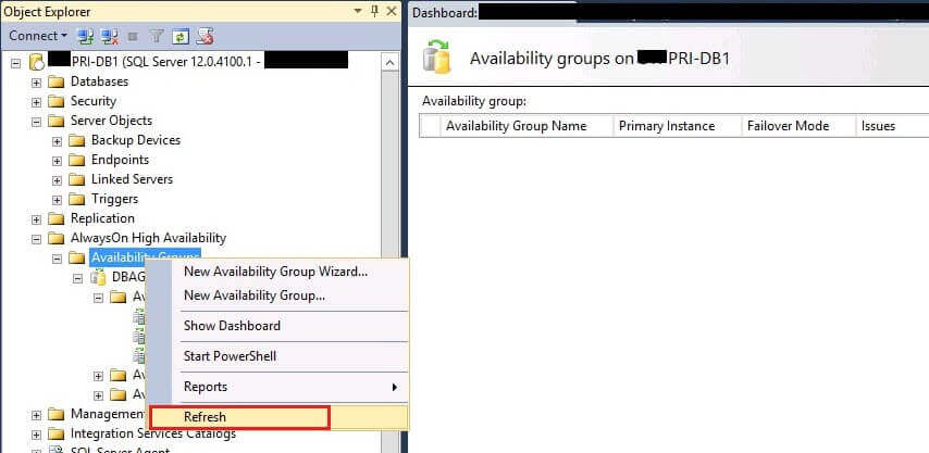 Refresh Availability Groups in SSMS