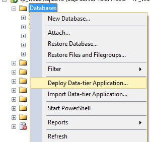 Deploy Data-tier Application... in SQL Server Management Studio