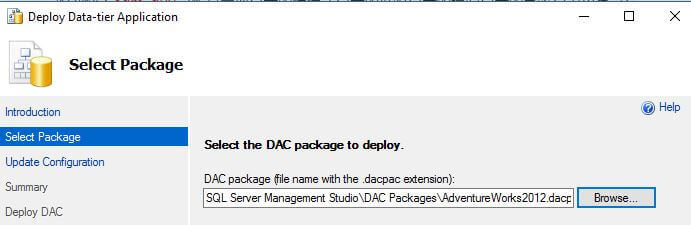 Select the DAC package to deploy