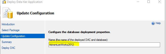 Configure the database deployment properties
