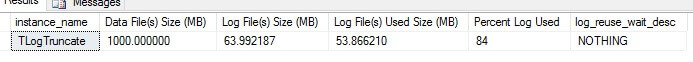 database transaction log file size is 64MB and the log used size is 54MB