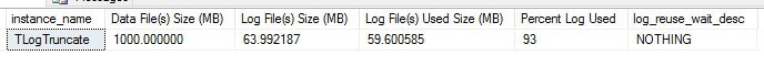 INSERT query will push the log file used size to 59MB.