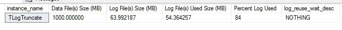 The log file used size is 54MB
