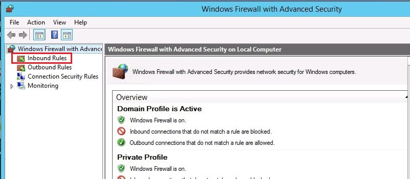 Windows Firewall with Advanced Security consolee