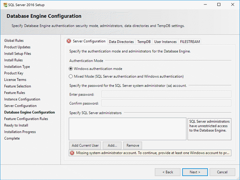 Database Engine Configuration Screen