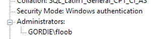 Administrators group only contains GORDIE\floob