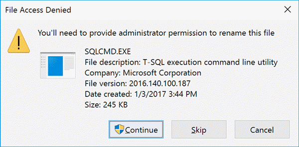 Rename Prompt for sqlwriter.exe