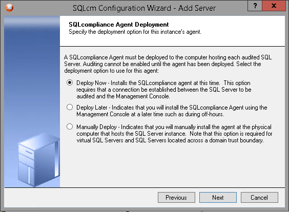 sql compliance manager deployment