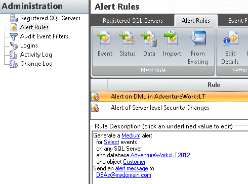 sql compliance manager alert rules
