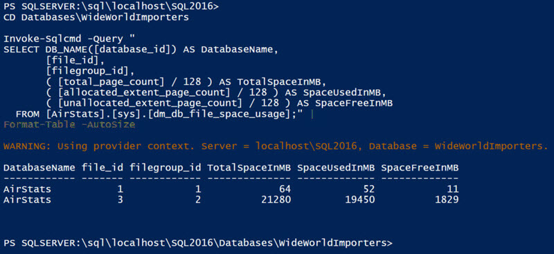 If we navigate further down the SQL PowerShell Provider, underneath a database, we can then leave off the -Database paramete with Invoke-Sqlcmd