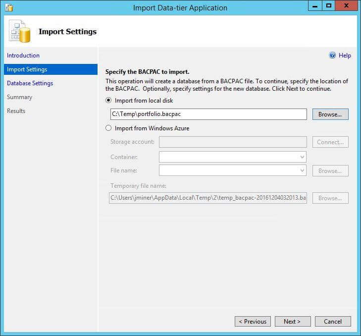 Import BACPAC - Dialog Box 1