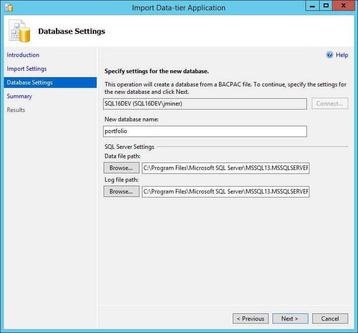 Import BACPAC - Dialog Box 2